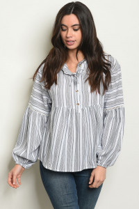 S22-3-1-T24433 GRAY STRIPES TOP 2-2-2