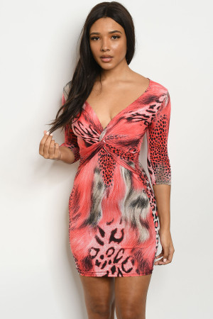 S18-2-1-D7556 RED ANIMAL PRINT DRESS 2-2-2