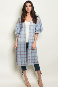 S18-2-2-C90809 BLUE CHECKERS CARDIGAN 2-2-2