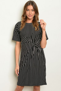 S18-1-3-D32737 BLACK STRIPES DRESS 2-2-2