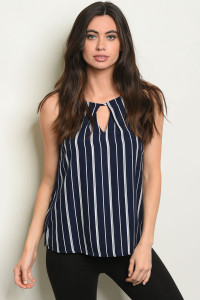 S24-8-2-T6358 NAVY STRIPES TOP 3-2-1