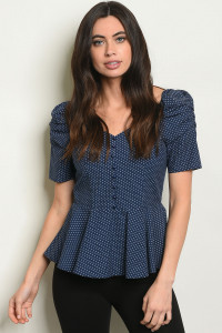 S25-8-5-T6569 NAVY W/ DOTS TOP 2-2-2