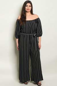 S18-4-1-J7952X BLACK STRIPES PLUS SIZE OFF SHOULDER JUMPSUIT 2-2-2-2