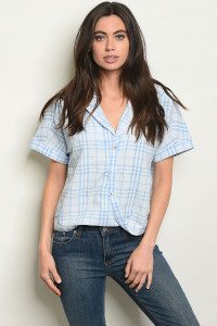 S18-3-4-T14069 BLUE CHECKERS TOP 2-2-2