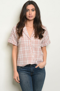 S21-12-3-T14069 BLUSH CHECKERS TOP 2-1-1