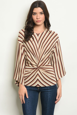 S16-5-2-T120 BROWN IVORY STRIPES TOP 2-2-2