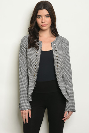 S207-2-B749 BLACK WHITE GINGHAM BLAZER 2-2-2