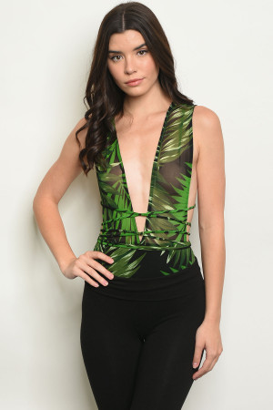 C40-B-3-B010098 BLACK GREEN WITH LEAVES BODYSUIT 3-2-1