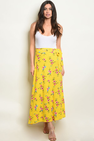 S24-7-3-S2359 YELLOW FLORAL SKIRT 3-2-2