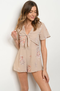 S10-3-3-R70435 BEIGE WITH DOTS FLORAL ROMPER 3-2-1