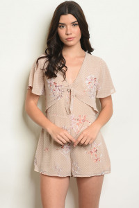 S24-6-1-R70435 BEIGE WITH DOTS FLORAL ROMPER 4-2-1