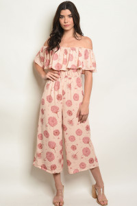 S10-15-4-J70308 PEACH WITH FLOWER PRINT JUMPSUIT 1-2-2-1
