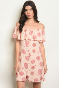 S12-9-3-D0502 PEACH WITH FLOWER PRINT DRESS 1-2-2-1