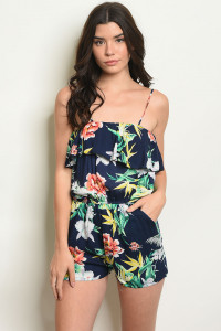 S18-12-1-R101B NAVY WITH FLOWER PRINT ROMPER 2-2-2-1
