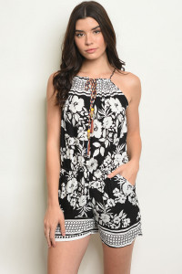 S15-12-1-R101A BLACK WHITE ROMPER 2-2-2-1