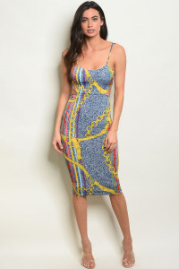 C44-A-4-D7565 MULTI WITH CHAIN PRINT DRESS 2-2-2