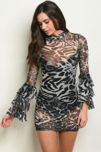 C49-A-7-D7447 BLACK ANIMAL PRINT DRESS 2-2-2