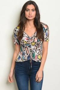 C97-B-3-T3892 MULTI SNAKE ANIMAL PRINT TOP 2-2-2