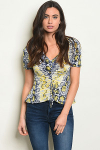 C91-B-4-T3892 YELLOW SNAKE ANIMAL PRINT TOP 2-2-2
