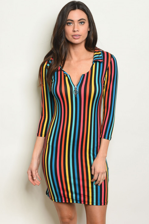 C81-A-4-D5048 MULTI STRIPES DRESS 2-2-2