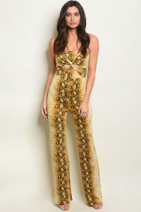 C21-A-7-J2016 YELLOW SNAKE ANIMAL PRINT JUMPSUIT 2-2-2
