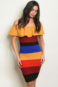 C15-A-2-D1944 MUSTARD MULTI STRIPES DRESS 2-2-2