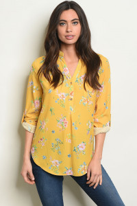 S22-9-4-T1095 YELLOW FLORAL TOP 2-2-2