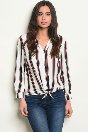 S9-10-4-T10115 IVORY STRIPES TOP 3-2-1