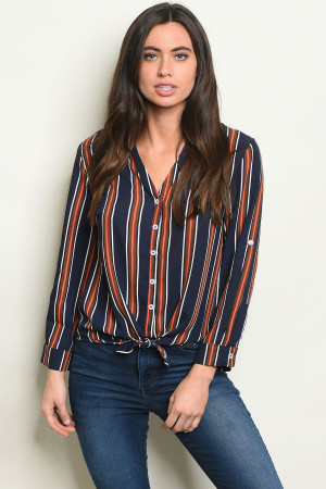 S9-10-4-T10115 NAVY STRIPES TOP 3-2-1