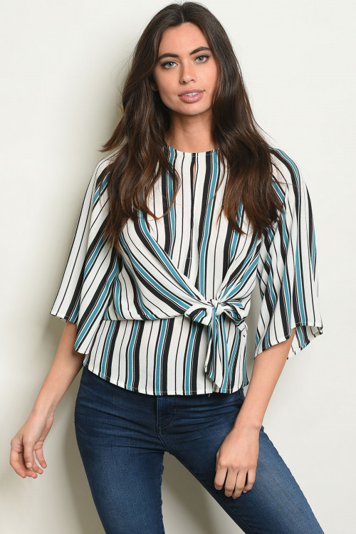 S10-3-1-T4299 IVORY STRIPES TOP 3-2-1