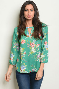 S25-8-6-T10064 GREEN FLORAL TOP 2-2-2