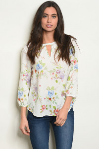 S25-8-6-T10064 WHITE FLORAL TOP 2-2-2