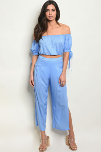 S15-7-2-SET1127 BLUE WHITE TOP & PANTS SET 4-2-1