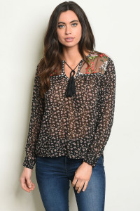 S18-8-4-T1035 BLACK WITH FLOWER EMBROIDERY TOP 2-2-2