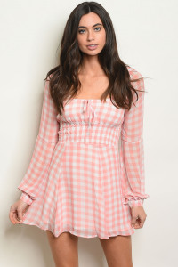 S10-2-3-T2122 PINK CHECKERED DRESS 3-2-1