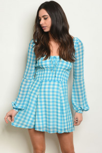 S10-2-3-T2122 BLUE CHECKERED DRESS 3-2-1