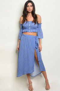 S16-9-2-SET1114 BLUE STRIPES TOP & SKIRT SET/ 3SETS