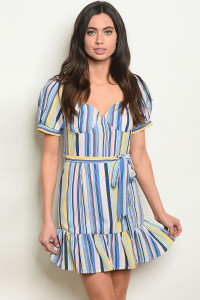 S18-10-2-D3885 BLUE MULTI STRIPES DRESS 4-2-1