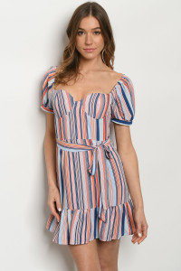 S9-2-2-D3885 PINK STRIPES DRESS 3-2-1