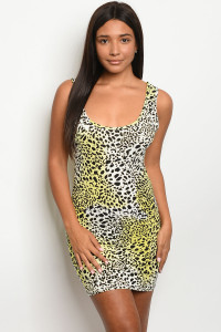 C36-A-2-D0008 YELLOW LEOPARD PRINT DRESS 2-2-2