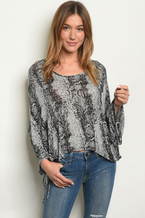 C38-A-2-T5139 BLACK GRAY ANIMAL PRINT TOP 2-2-2