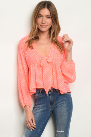 C42-B-4-T0048 NEON PINK WITH DOTS TOP 2-2-2
