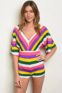 C58-B-3-R3358 MULTI STRIPES ROMPER 2-2-2