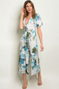 C16-A-5-J90177 IVORY BLUE WITH LEAVES JUMPSUIT 2-2-2