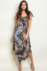 S20-10-6-D2442 BLACK WITH PRINT DRESS 2-2-2