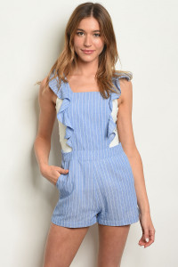 S10-4-2-R5686 BLUE STRIPES ROMPER 3-2-1