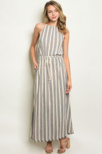 S10-1-3-D1634 NATURAL STRIPES DRESS 3-2-1