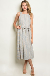 S12-2-1-D1678 CREAM STRIPES DRESS 3-2-1