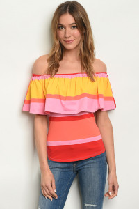 C79-B-3-T1825 RED PINK STRIPES TOP 1-2-2-1