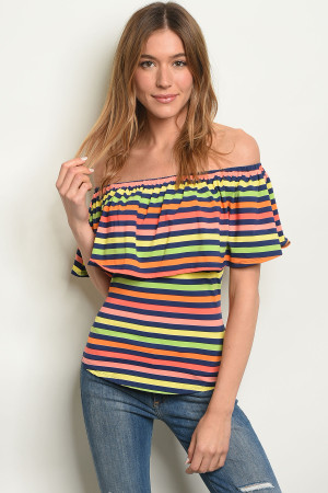 C79-B-4-T1825 MULTI STRIPES TOP 1-2-2-1